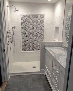 29 Popular Bathroom Shower Tile Design Ideas And Makeover. If you are looking for Bathroom Shower Tile Design Ideas And Makeover, You come to the right place. Here are the Bathroom Shower Tile Design. Bathroom Floor Tiles, Bathroom Renos, Bathroom Renovations, Bathroom Fixtures, Remodel Bathroom, Bathroom Storage, Bathroom Colors, Master Shower Tile, Tile Floor