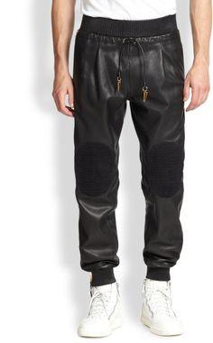 Giuseppe Zanotti Leather Pants in Black for Men