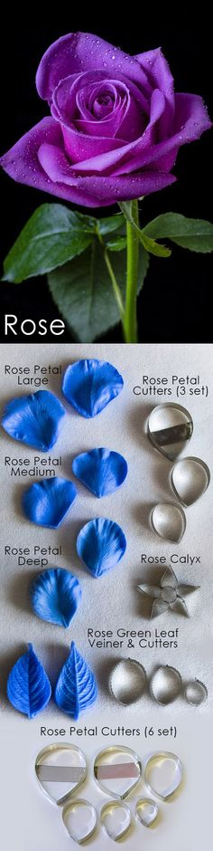 Rose cutters and veiners, sugar flowers, gumpaste flowers, cutters, veiners, Roses, Rose, leaves Edible Diamonds, Rose Leaves, First Dates, Candy Shop, Sugar Flowers, Gum Paste, Types Of Art, Food Coloring, Flocking