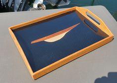 CARBON fiber serving tray with sailboat inlay Sailboat, Carbon Fiber, Tray, Furniture, Sailing Boat, Sailboats, Trays, Arredamento, Sailing Yachts