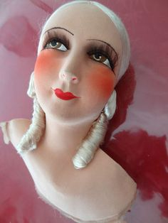 Superbe tête ancienne de poupée de salon (1920/1930) - French boudoir doll head - Gorgeous!