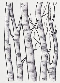 Stitch this painterly birch scene once, or repeat in a line to create a full forest scene.