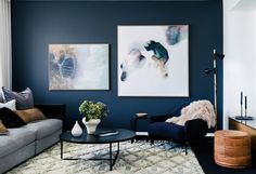 dark blue grey feature wall with large art living room Scandi Living Room, Living Room Art, Scandinavian Living, Dark Blue Feature Wall, Blue Feature Wall Living Room, Navy Blue Walls, Navy Blue And Grey Living Room, Blue Grey, Interior House Colors