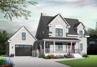 Compact Country Farmhouse (HWBDO76280) | Country House Plan from BuilderHousePlans.com