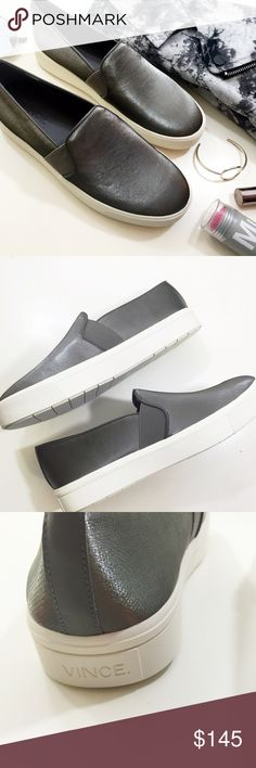 Vince Gunmetal Slip On Sneakers Size 7, gray textured canvas with a metallic sheen and leather trim. Brand new in box. Vince Shoes Sneakers
