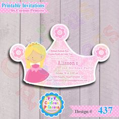437 Princess Aurora invitation DIGITAL by CuriousPrincessParty, $11.99 printable file sleeping beauty birthday party, NO disney related, cute birthday party ideas crown tiara for girls