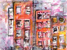 One afternoon In the City - Set 6 - Jean-Louis Moray - Ink wash on canvas x 3