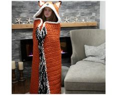 Stricken und Häkeln Crochet hooded fox blanket pattern by MJ's Off The Hook Designs How To Buy A Lof Crochet Afghans, Basic Crochet Stitches, Crochet Basics, Crochet Blanket Patterns, Knitting Patterns, Crochet Blankets, Baby Afghans, Afghan Patterns, Sewing Patterns