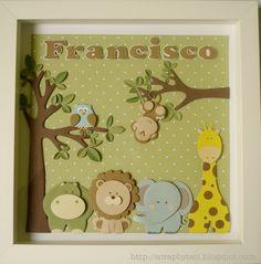 Molde animais safari Baby Cards, Kids Cards, Scrapbook Cards, Scrapbooking, Diy And Crafts, Paper Crafts, Baby Frame, Baby Christening, Cricut Cards