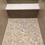 Glazed Java Tan Pebble Tile Shower Pan I like this color for the master shower floor Pebble Floor, Pebble Tiles, Stone Shower Floor, Tile Floor, Pebble Stone, Pool Tiles, Wood Floor, Master Shower, Master Bathroom