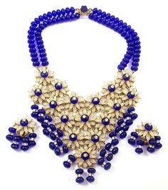 STANLEY HAGLER, NYC Lapis Beads Floral Bib Necklace & Pendant Clip Earrings Set