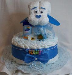 Windeltorte-blau-Babygeschenk-Handtuchfigur-Geburt-Taufgeschenk-Junge-mit-Name