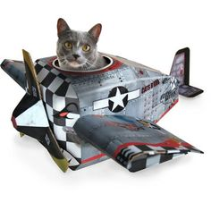 "{Plane Cat Playhouse} by Suck UK.  Luna says, ""I can haz fighter jet?"""