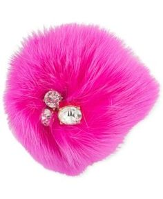 Trina Turk Gold-Tone Pink Fox Fur and Crystal Pin - Pink