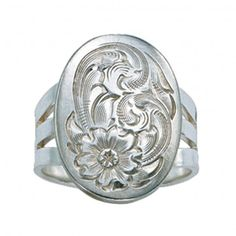 Montana Silversmiths Bright Cut Silver Concho Ring