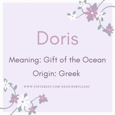 Baby Girl Name: Doris.   Meaning: Gift of the Ocean.   Origin: Greek.    www.pinterest.com/designsbyleahc Rare Names, Unique Names, Writing Resources, Writing Tips, Ocean Names, Gender Neutral Names, Ocean Girl, Alien Girl, Vintage Names