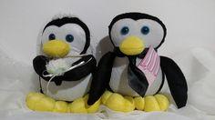 Casal de Pingüins da Noiva PontoArt em pelúcia