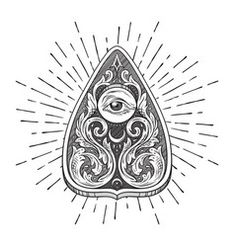 Illustration of Hand drawn ouija board mystifying oracle planchette isolated. Antique style boho chic sticker, tattoo or print design vector illustration vector art, clipart and stock vectors. Occult Symbols, Masonic Symbols, Line Art Vector, Engraving Illustration, Free Art Prints, Sticker Design, Art Drawings, Print Design, Graphic Design