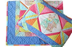 Handmade Nursery Handmade Set Blanket Pillow Case Cotton Patchwork Toddler *** Check out the image by visiting the link.