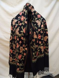 color Wool Stole with Kashmir Embroidery. Kashmiri Shawls, Pashmina Shawl, Floral Scarf, Scarves, Kimono Top, Women's Fashion, India, Embroidery, Wool