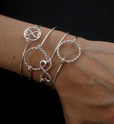 Infinity Heart Sterling Silver Bangle Bracelet by unkamengifts