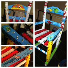 Dr. Seuss repainted rocking chair. https://www.facebook.com/photo.php?fbid=444278255649690=a.444278242316358.1073741825.230123030398548=1_t=like