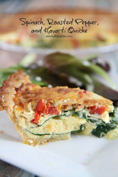 Spinach, Roasted Pepper, and Havarti Quiche