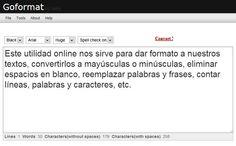 Goformat: dar formato a textos, contar caracteres y palabras, convertir a mayúsculas, eliminar espacios y más