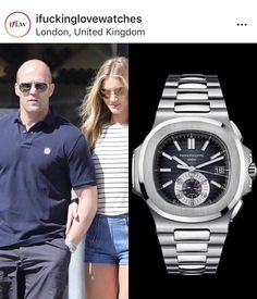 British Actor, Jason Statham was spotted doing the rounds with his fiancee all while wearing a stunning Patek Philippe Nautilus Chrono 5980 in Stainless Steel. Top Watches For Men, Luxury Watches For Men, Women's Watches, Patek Philippe Gold, Patek Philippe Aquanaut, Patek Philippe Calatrava, Best Watch Brands, British Actors, Quartz Watch