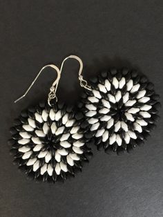 Seed Bead Earrings Big Bold Black and WhiteDisc by WorkofHeart