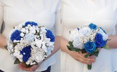 bride and bridesmaid bouquets. blue and white paper bouquet at facebook/weddingpaperflowers  #paperflowers #weddingbouquet  #paperart