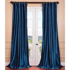 EFF Azul Faux Silk Taffeta Pole Top Curtain Panel
