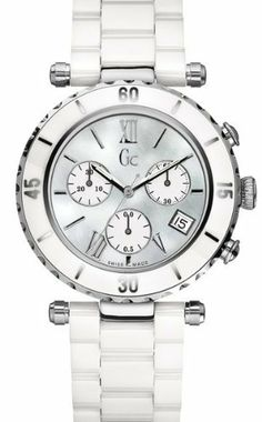GUESS Gc DIVER CHIC White Ceramic Chronograph GUESS. $377.01. SWISS Made. Water resistant. Polished Metal. Womens watch. Gift packaging .. Save 37%!