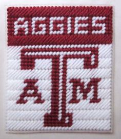 Texas A&M Aggies tissue box cover in plastic canvas PATTERN ONLY by AuntCC for $2.50