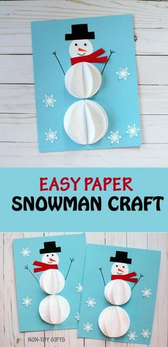 Easy paper snowman craft we made to celebrate Christmas in July. Kids will love creating this winter craft. Great for preschoolers, kindergartners and older kids. | at Non-Toy Gifts