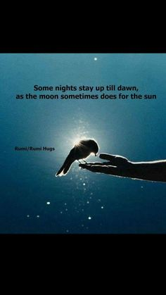 """""""Some nights stay up till dawn, as the moon sometimes does for the sun. Moon Quotes, Rumi Quotes, Spiritual Quotes, Motivational Quotes, Life Quotes, Inspirational Quotes, The Words, Rumi Poesie, Jalaluddin Rumi"""