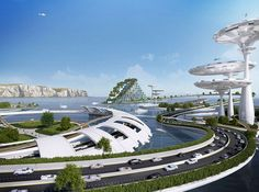 Is this what London will look like in 100 years? Floating cities with reef-like structure formed on the water