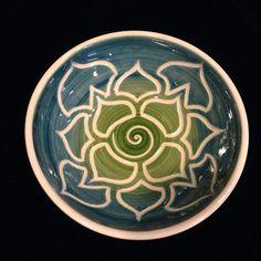 Teal Green Porcelain Lotus Bowl on Etsy