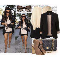 shorts, blush blouse & blazer NOT the heels or purse