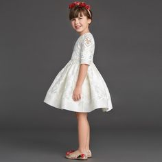Dolce & Gabbana - Ivory Silk & Broderie Anglaise Dress