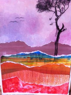 lesson 1 : sponged sky, painted papers lesson 2 : tear paper into strips, assemble and stick landscape, create tree in foreground, painted trunk and branches, sponged or dry brushed foliage.
