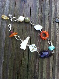 Confetti dangle Gemstone Bracelet by NikkiMac on Etsy, $39.00