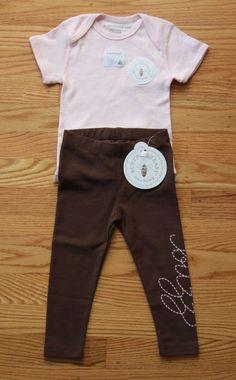 Burt's Bees Baby Girl Bodysuit and Pants Set ~ Brown Bottoms & Pink Top ~ buzz ~ #BurtsBees #Everyday
