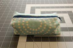 Blue & White Polka Dot Zippered Pencil Case by MGardeski on Etsy