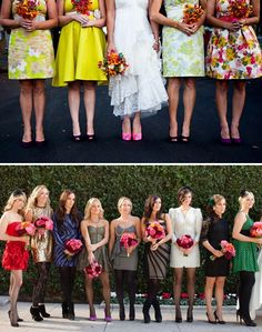 I just love the idea of bridesmaids wearing various interpretations of the wedding color or style.