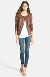 Hinge Leather Jacket, Stem Dolman Tee & AG Skinny Jeans