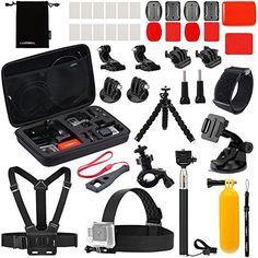 Luxebell Accessories Kit for Gopro Hero 5 4 3 3 2 1 AKASO EK5000 EK7000 DBPOWER EX5000 Lightdow LD4000 Sjcam J4000 SJ5000 22in1 -- For more information, visit image link.