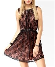 Lace ruched sleeveless dress