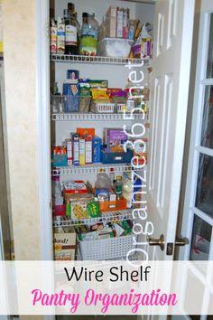Wire Shelf Pantry Organization | Organize 365 Food Pantry Organizing, Food Storage Organization, Household Organization, Kitchen Cabinet Organization, Kitchen Storage, Organizing Tips, Storage Ideas, Wire Pantry Shelves, Wire Shelving