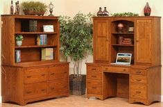 Amish Prairie Mission File Credenza with Hutch Top Mission style solid wood credenza with lots of storage and display. Four drawers, adjustable shelves and custom built in the wood and stain you choose. #officestorage #credenza #woodfurniture